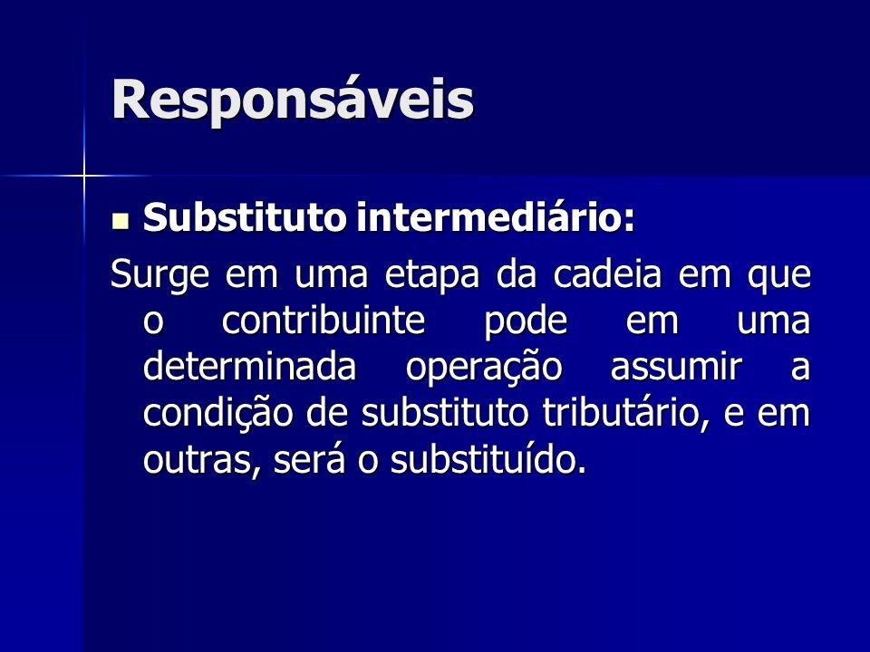 Responsáveis Substituto intermediário: Substituto intermediário: Surge em uma etapa da cadeia em que o contribuinte pode em uma determinada operação a