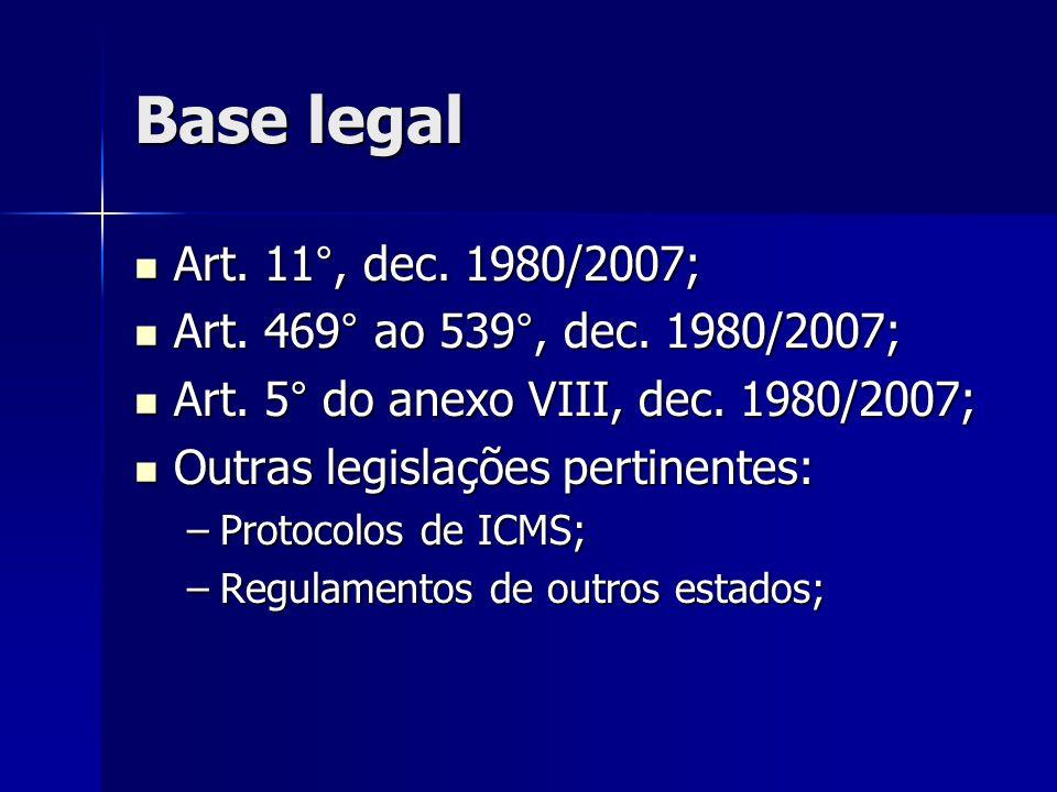 Base legal Art.11°, dec. 1980/2007; Art. 11°, dec.