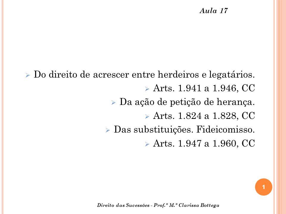 1 Direito das Sucessões - Prof.ª M.ª Clarissa Bottega Aula 17 Do direito de acrescer entre herdeiros e legatários.