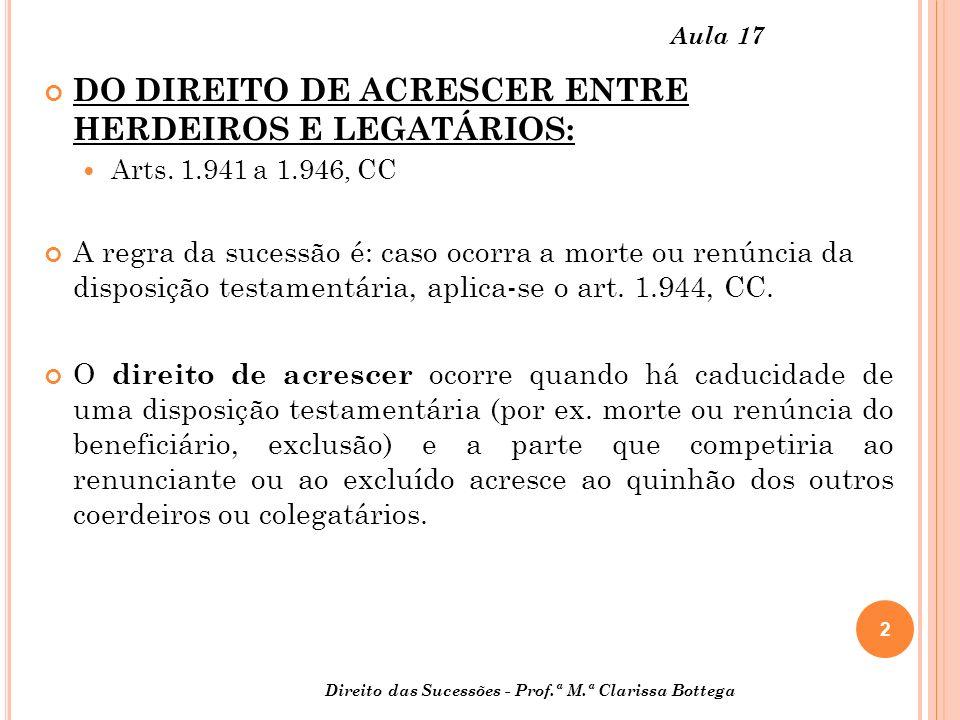 2 Direito das Sucessões - Prof.ª M.ª Clarissa Bottega Aula 17 DO DIREITO DE ACRESCER ENTRE HERDEIROS E LEGATÁRIOS: Arts.