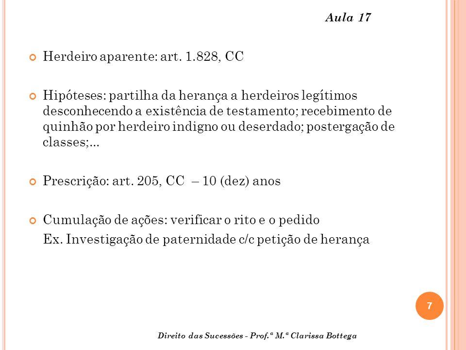 7 Direito das Sucessões - Prof.ª M.ª Clarissa Bottega Aula 17 Herdeiro aparente: art.