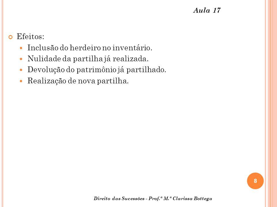 8 Direito das Sucessões - Prof.ª M.ª Clarissa Bottega Aula 17 Efeitos: Inclusão do herdeiro no inventário.