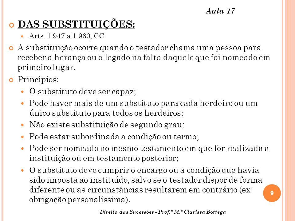 9 Direito das Sucessões - Prof.ª M.ª Clarissa Bottega Aula 17 DAS SUBSTITUIÇÕES: Arts.