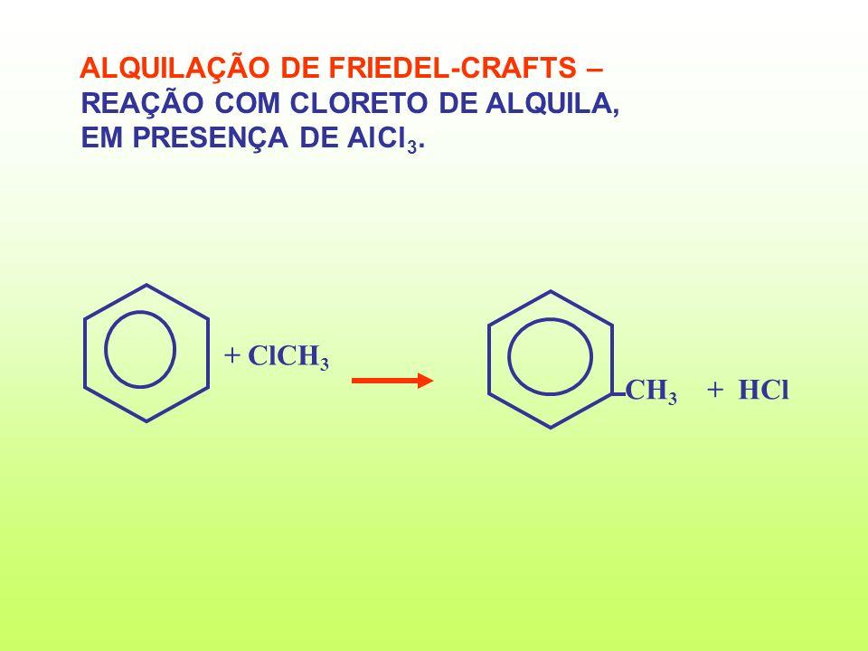 CH 3 + HCl + ClCH 3 ALQUILAÇÃO DE FRIEDEL-CRAFTS – REAÇÃO COM CLORETO DE ALQUILA, EM PRESENÇA DE AlCl 3.