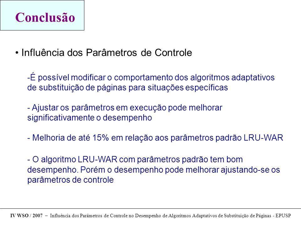 Conclusão Influência dos Parâmetros de Controle É possível modificar o comportamento dos algoritmos adaptativos de substituição de páginas para situa