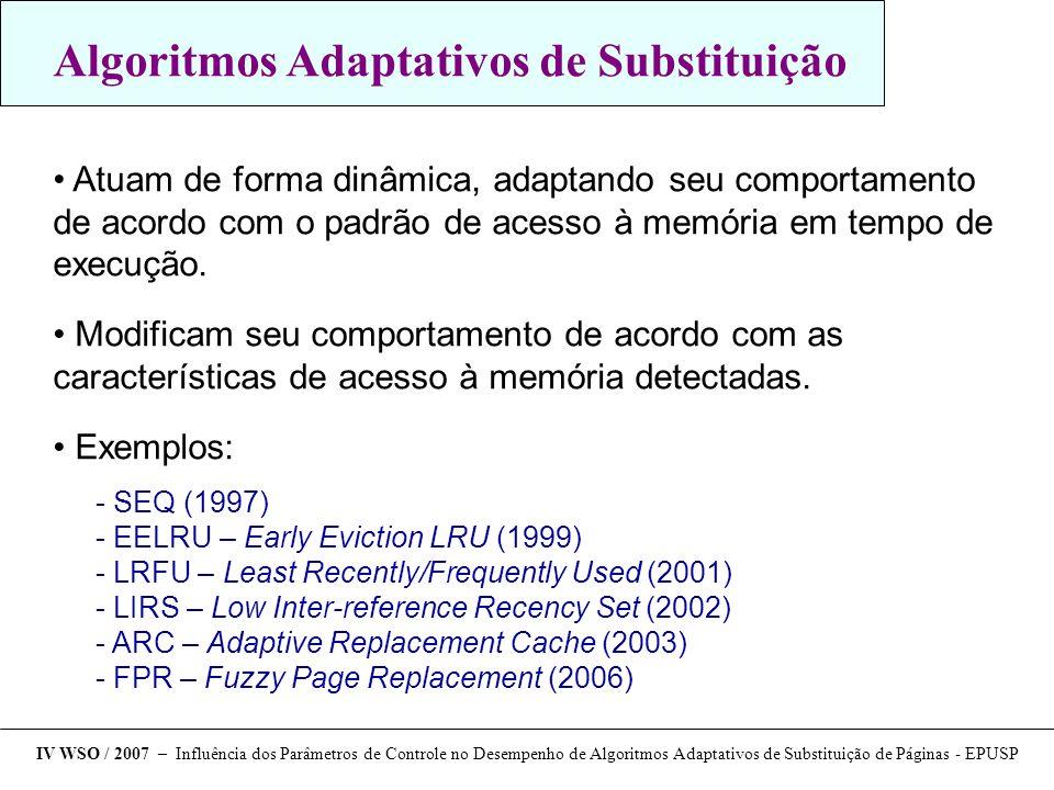 Trabalhos futuros - Conduzir este mesmo estudo para um conjunto maior de aplicações - Desenvolver um algoritmo dinâmico de ajuste dos parâmetros de controle em execução - Analisar a influência dos parâmetros de controle usando o LRU- WAR com uma política de substituição global  Estudo comparativo com outros algoritmos adaptativos IV WSO / 2007 – Influência dos Parâmetros de Controle no Desempenho de Algoritmos Adaptativos de Substituição de Páginas - EPUSP