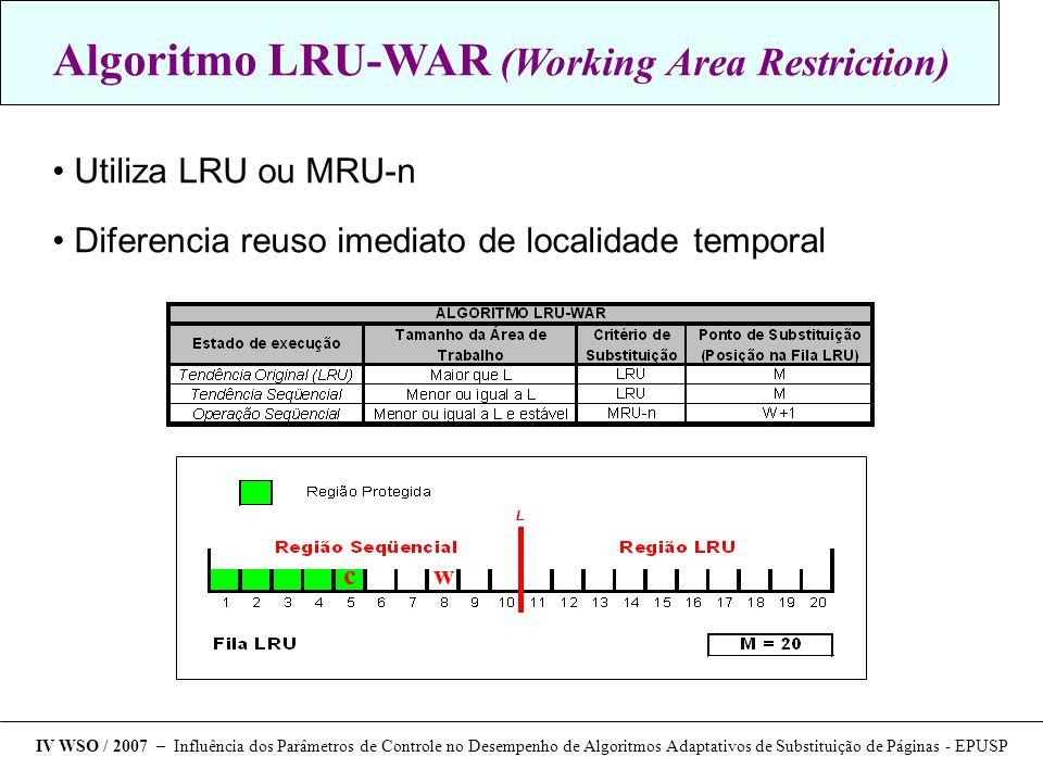 Traces utilizados nas análises IV WSO / 2007 – Influência dos Parâmetros de Controle no Desempenho de Algoritmos Adaptativos de Substituição de Páginas - EPUSP