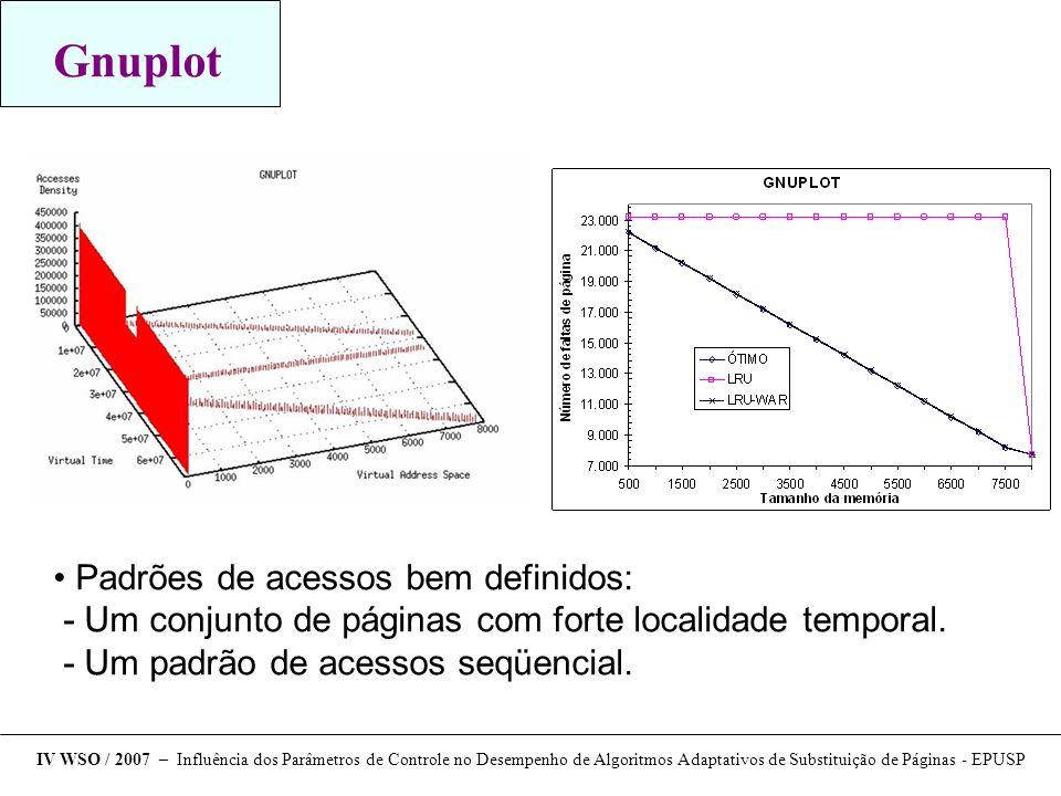 Gnuplot Padrões de acessos bem definidos: - Um conjunto de páginas com forte localidade temporal. - Um padrão de acessos seqüencial. IV WSO / 2007 – I