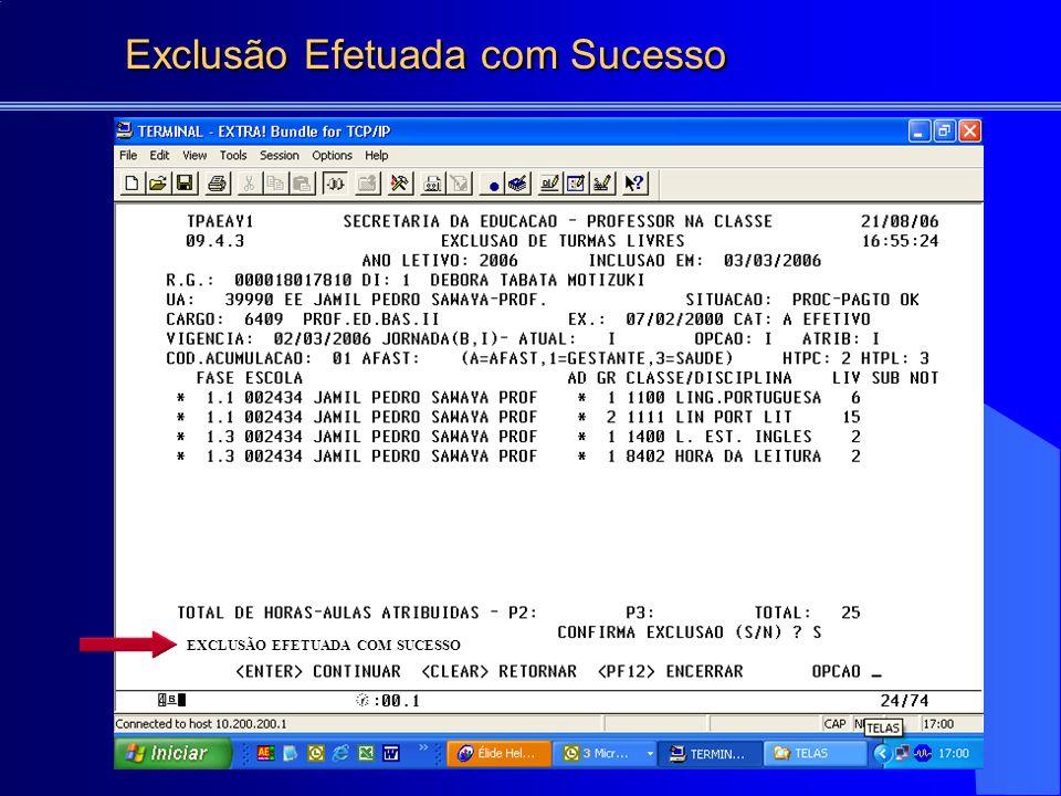 EXCLUSÃO EFETUADA COM SUCESSO Exclusão Efetuada com Sucesso Exclusão Efetuada com Sucesso