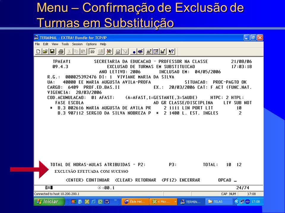 Menu – Confirmação de Exclusão de Turmas em Substituição EXCLUSÃO EFETUADA COM SUCESSO