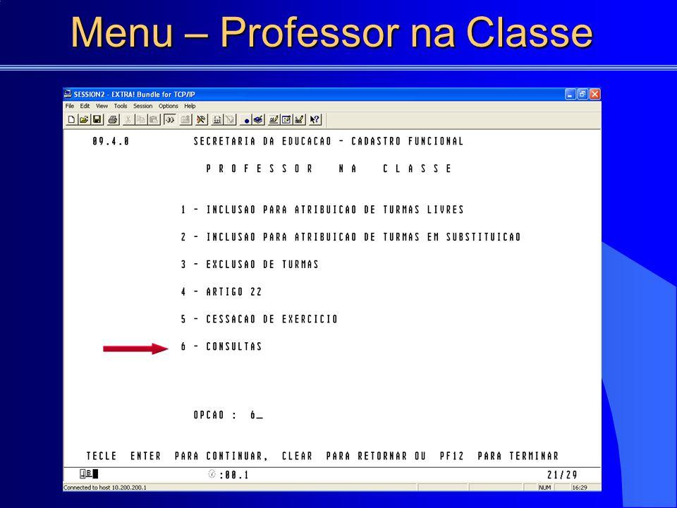 Menu – Professor na Classe