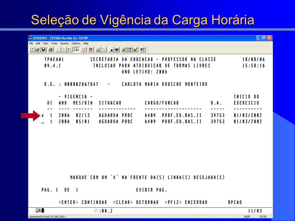 Seleção da Consulta - Atribuição de Turmas em Substituição HTPC: 02 HTPL: 03 6407 PROF.
