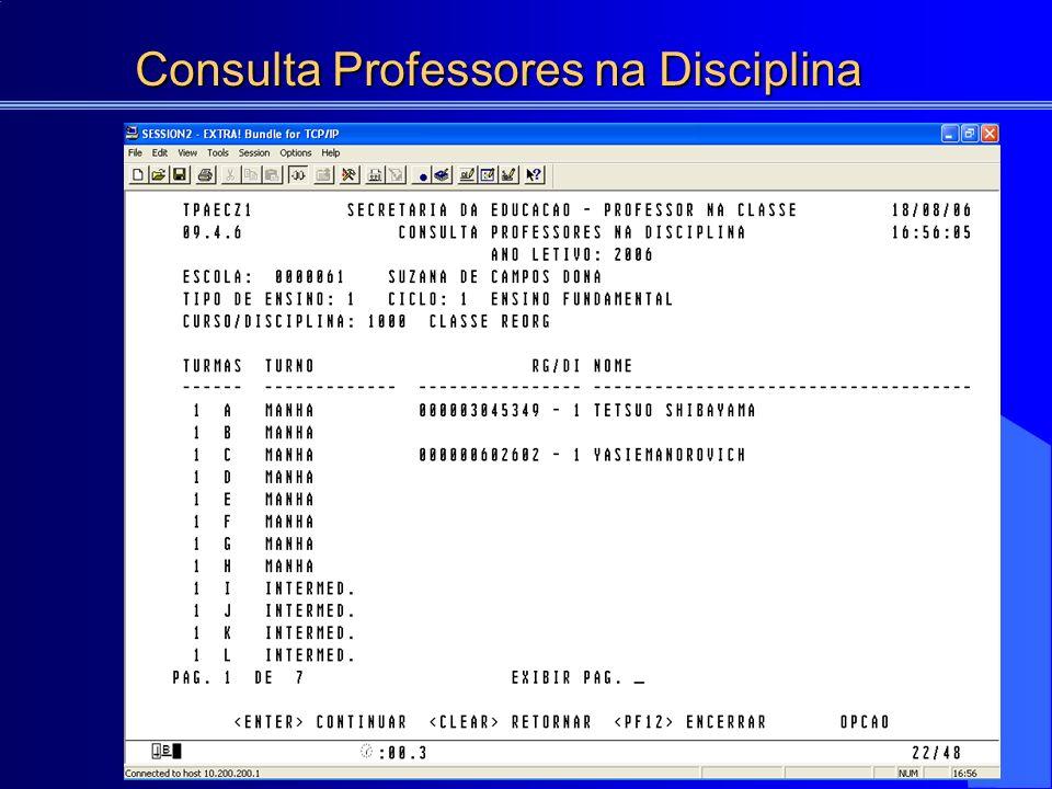 Consulta Professores na Disciplina