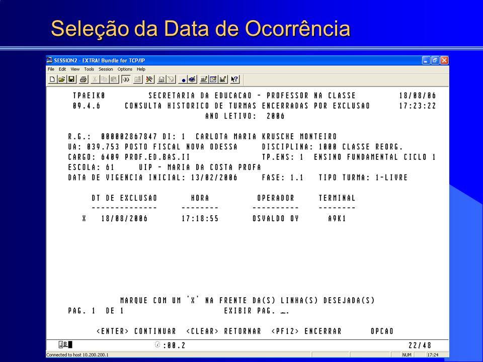 Seleção da Data de Ocorrência