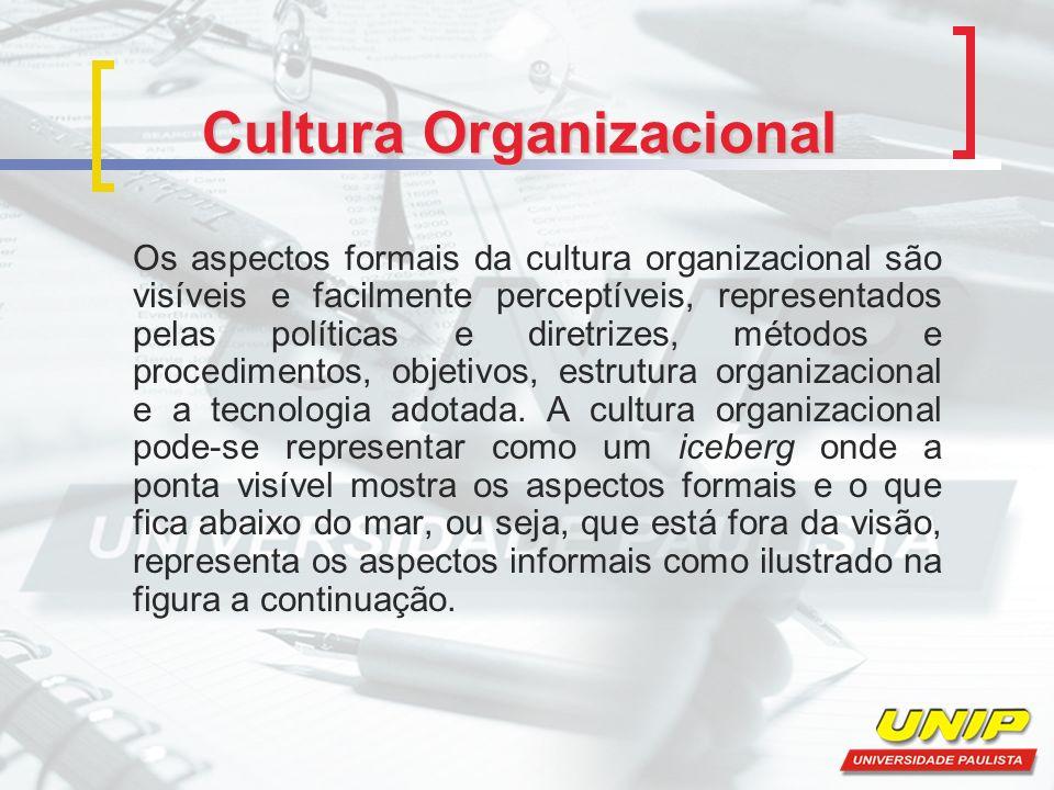 Cultura Organizacional Os aspectos formais da cultura organizacional são visíveis e facilmente perceptíveis, representados pelas políticas e diretrizes, métodos e procedimentos, objetivos, estrutura organizacional e a tecnologia adotada.