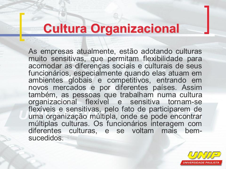 Cultura Organizacional As empresas atualmente, estão adotando culturas muito sensitivas, que permitam flexibilidade para acomodar as diferenças sociais e culturais de seus funcionários, especialmente quando elas atuam em ambientes globais e competitivos, entrando em novos mercados e por diferentes países.