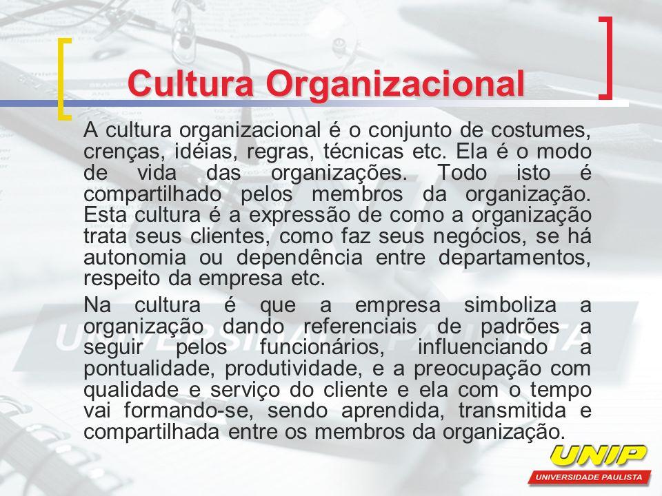 Cultura Organizacional A cultura organizacional é o conjunto de costumes, crenças, idéias, regras, técnicas etc.