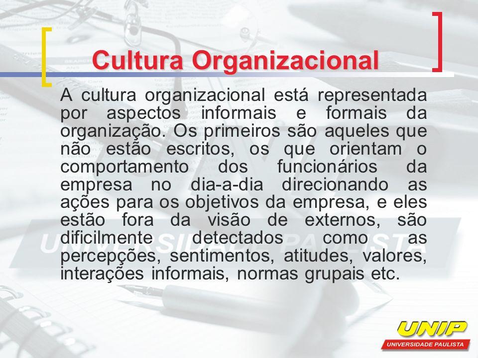 Cultura Organizacional A cultura organizacional está representada por aspectos informais e formais da organização.