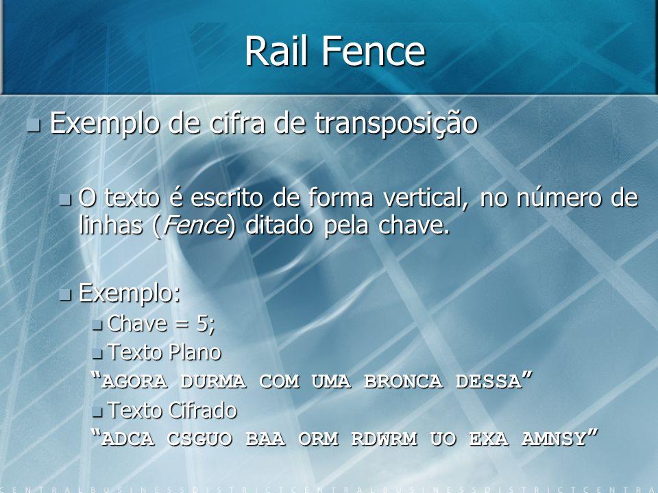 Rail Fence Exemplo de cifra de transposição Exemplo de cifra de transposição O texto é escrito de forma vertical, no número de linhas (Fence) ditado p