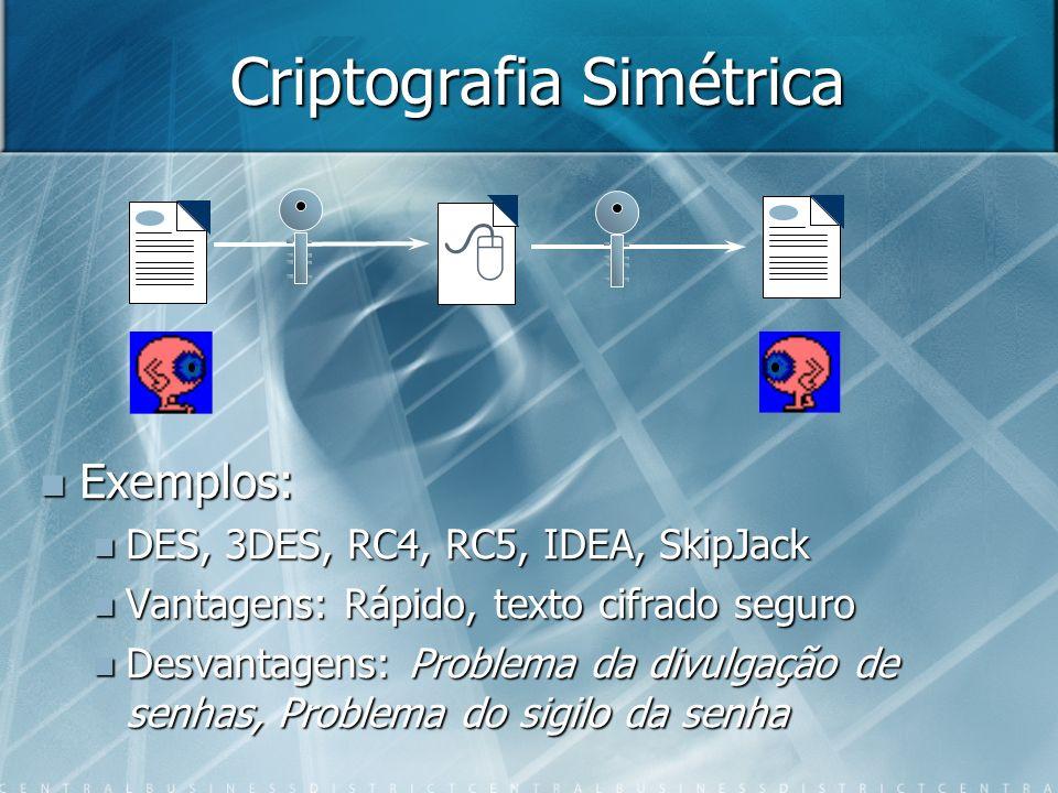 Criptografia Simétrica Exemplos: Exemplos: DES, 3DES, RC4, RC5, IDEA, SkipJack DES, 3DES, RC4, RC5, IDEA, SkipJack Vantagens: Rápido, texto cifrado se