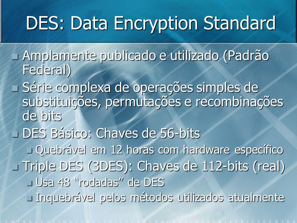DES: Data Encryption Standard Amplamente publicado e utilizado (Padrão Federal) Amplamente publicado e utilizado (Padrão Federal) Série complexa de op