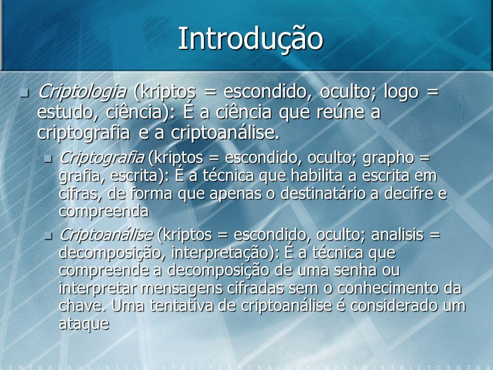 Introdução Criptologia (kriptos = escondido, oculto; logo = estudo, ciência): É a ciência que reúne a criptografia e a criptoanálise. Criptologia (kri
