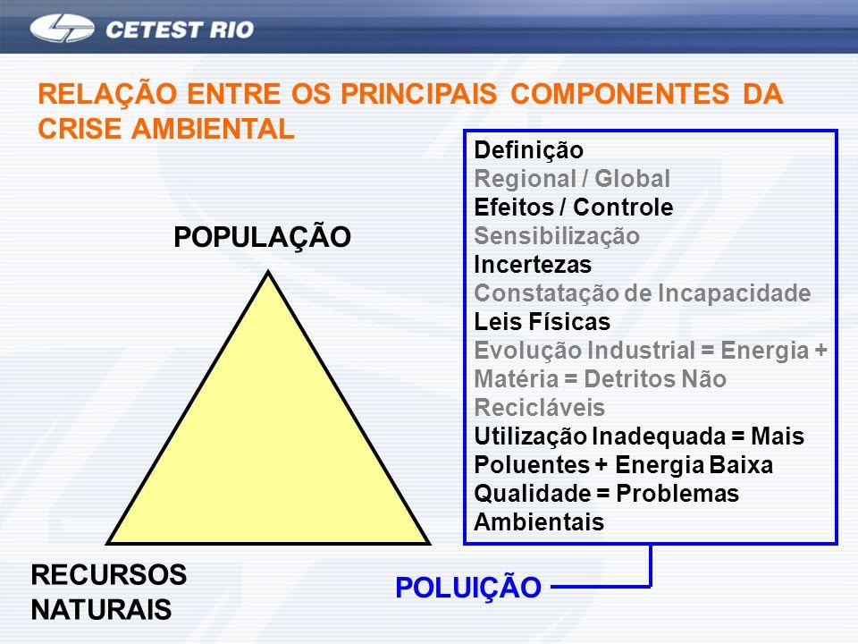 RECURSOS NATURAIS POLUIÇÃO POPULAÇÃO RELAÇÃO ENTRE OS PRINCIPAIS COMPONENTES DA CRISE AMBIENTAL Definição Regional / Global Efeitos / Controle Sensibi