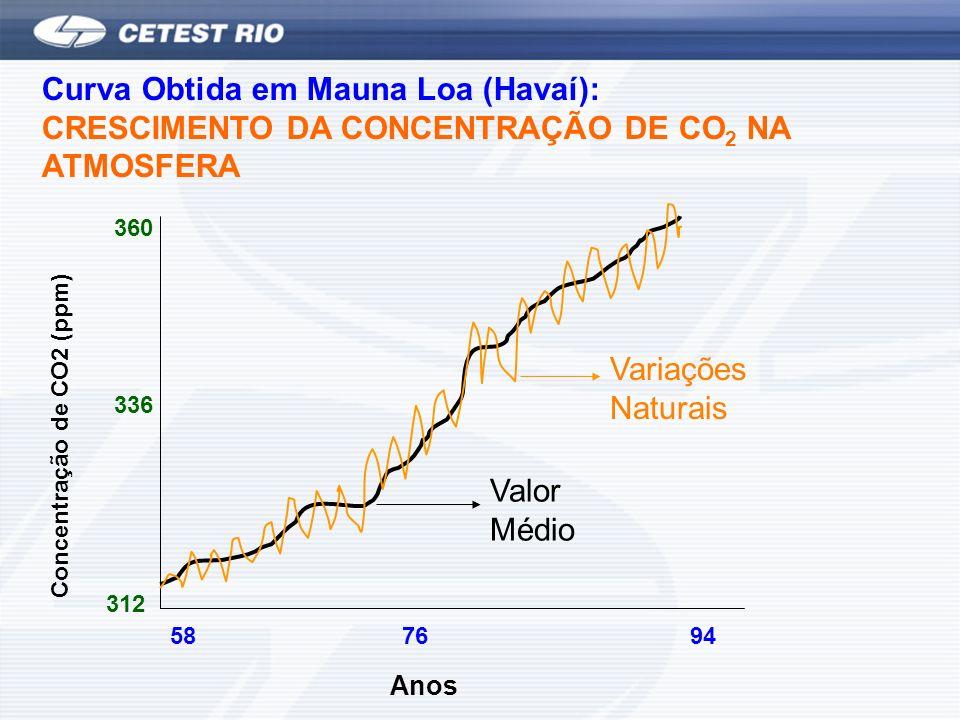 Curva Obtida em Mauna Loa (Havaí): CRESCIMENTO DA CONCENTRAÇÃO DE CO 2 NA ATMOSFERA Concentração de CO2 (ppm) 312 360 336 587694 Anos Variações Naturais Valor Médio