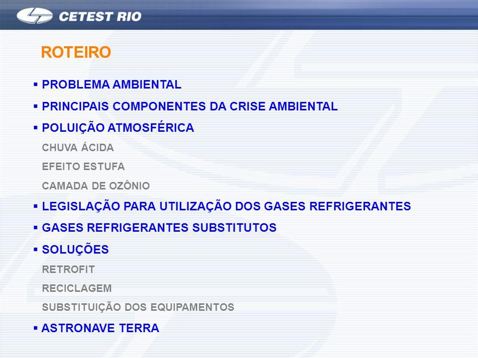 PROBLEMA AMBIENTAL PRINCIPAIS COMPONENTES DA CRISE AMBIENTAL POLUIÇÃO ATMOSFÉRICA CHUVA ÁCIDA EFEITO ESTUFA CAMADA DE OZÔNIO LEGISLAÇÃO PARA UTILIZAÇÃO DOS GASES REFRIGERANTES GASES REFRIGERANTES SUBSTITUTOS SOLUÇÕES RETROFIT RECICLAGEM SUBSTITUIÇÃO DOS EQUIPAMENTOS ASTRONAVE TERRA ROTEIRO