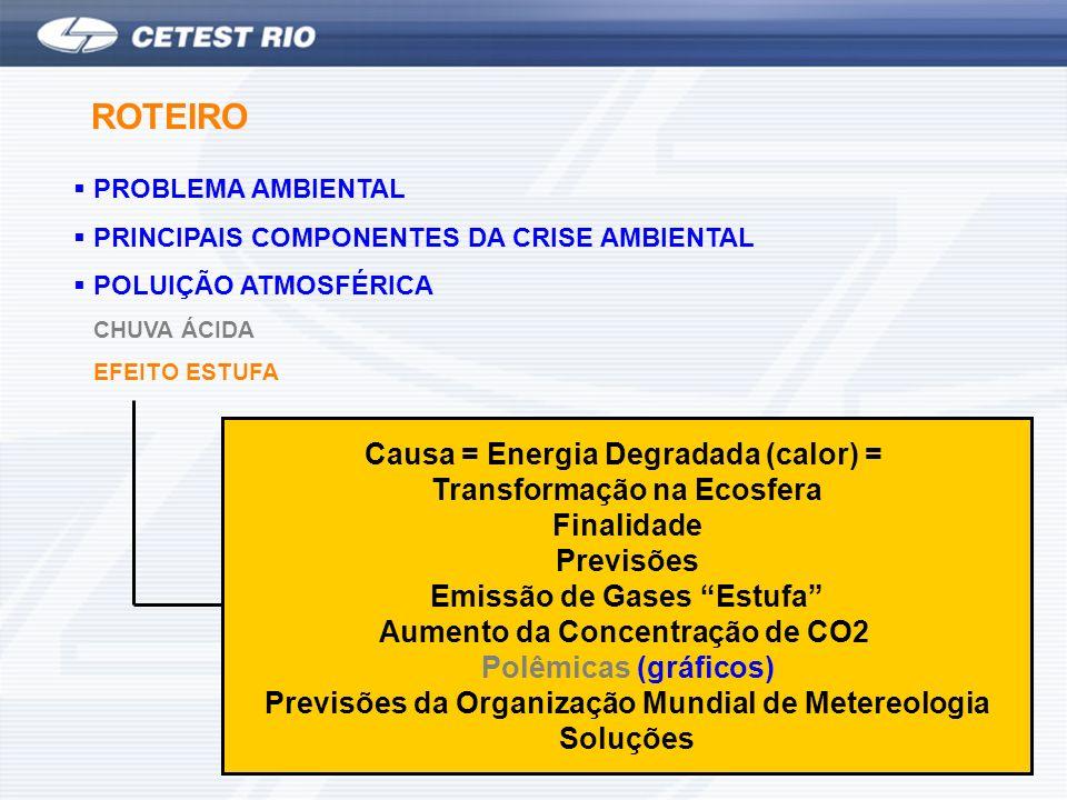 PROBLEMA AMBIENTAL PRINCIPAIS COMPONENTES DA CRISE AMBIENTAL POLUIÇÃO ATMOSFÉRICA CHUVA ÁCIDA EFEITO ESTUFA ROTEIRO Causa = Energia Degradada (calor)