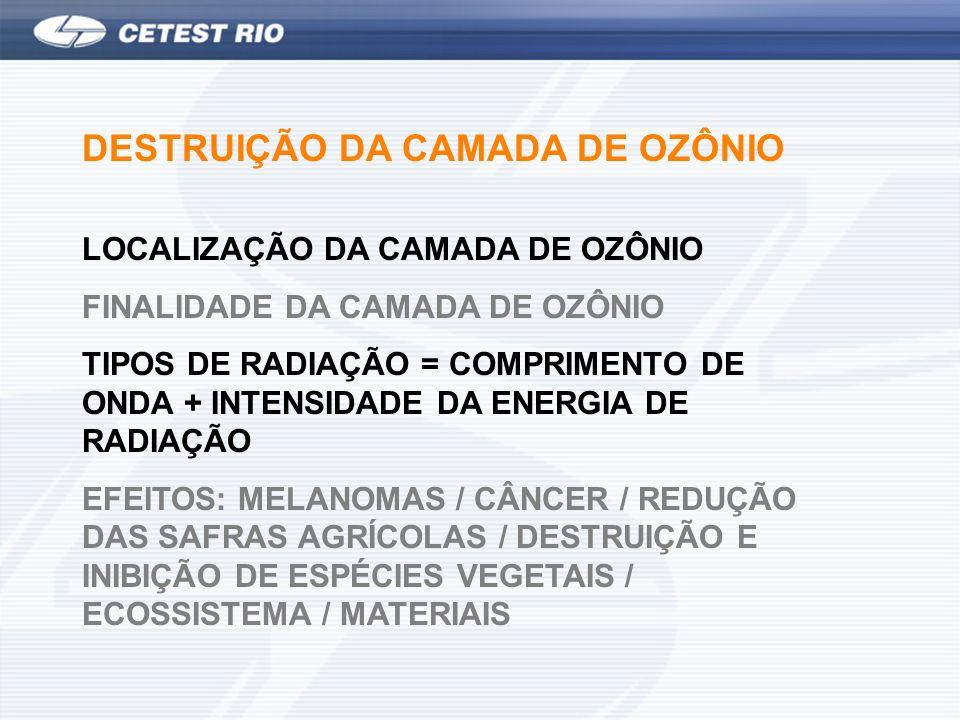 DESTRUIÇÃO DA CAMADA DE OZÔNIO LOCALIZAÇÃO DA CAMADA DE OZÔNIO FINALIDADE DA CAMADA DE OZÔNIO TIPOS DE RADIAÇÃO = COMPRIMENTO DE ONDA + INTENSIDADE DA ENERGIA DE RADIAÇÃO EFEITOS: MELANOMAS / CÂNCER / REDUÇÃO DAS SAFRAS AGRÍCOLAS / DESTRUIÇÃO E INIBIÇÃO DE ESPÉCIES VEGETAIS / ECOSSISTEMA / MATERIAIS