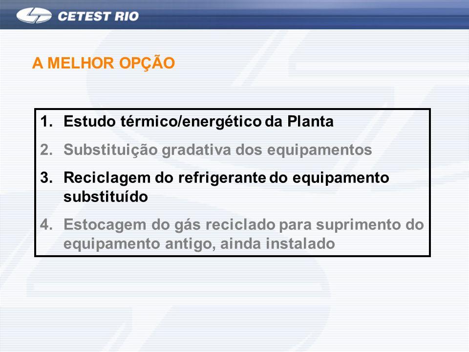 A MELHOR OPÇÃO 1.Estudo térmico/energético da Planta 2.Substituição gradativa dos equipamentos 3.Reciclagem do refrigerante do equipamento substituído 4.Estocagem do gás reciclado para suprimento do equipamento antigo, ainda instalado