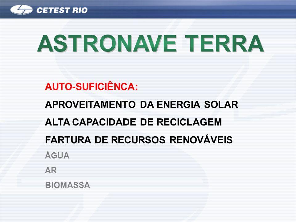 AUTO-SUFICIÊNCA: APROVEITAMENTO DA ENERGIA SOLAR ALTA CAPACIDADE DE RECICLAGEM FARTURA DE RECURSOS RENOVÁVEIS ÁGUA AR BIOMASSA