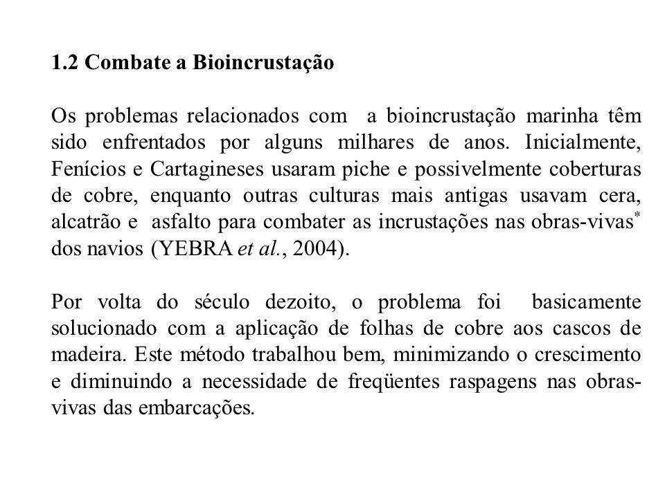 1.2 Combate a Bioincrustação Os problemas relacionados com a bioincrustação marinha têm sido enfrentados por alguns milhares de anos.