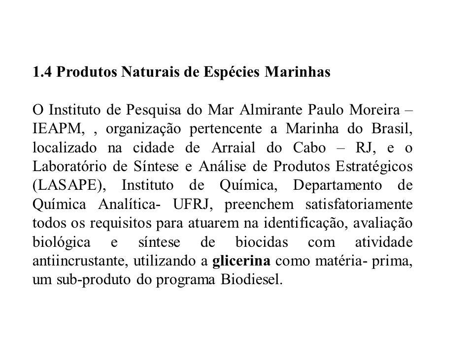 1.4 Produtos Naturais de Espécies Marinhas O Instituto de Pesquisa do Mar Almirante Paulo Moreira – IEAPM,, organização pertencente a Marinha do Brasil, localizado na cidade de Arraial do Cabo – RJ, e o Laboratório de Síntese e Análise de Produtos Estratégicos (LASAPE), Instituto de Química, Departamento de Química Analítica- UFRJ, preenchem satisfatoriamente todos os requisitos para atuarem na identificação, avaliação biológica e síntese de biocidas com atividade antiincrustante, utilizando a glicerina como matéria- prima, um sub-produto do programa Biodiesel.