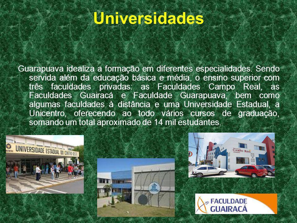 Universidades Guarapuava idealiza a formação em diferentes especialidades. Sendo servida além da educação básica e média, o ensino superior com três f