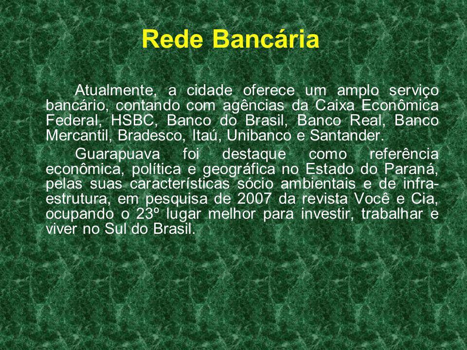 Rede Bancária Atualmente, a cidade oferece um amplo serviço bancário, contando com agências da Caixa Econômica Federal, HSBC, Banco do Brasil, Banco R