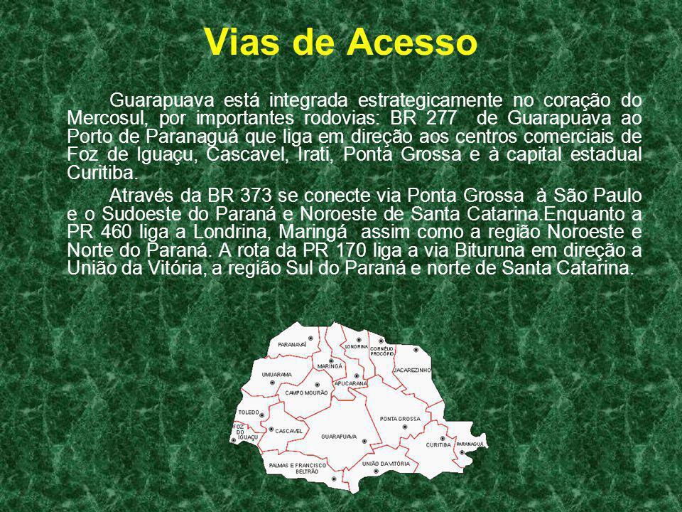 Vias de Acesso Guarapuava está integrada estrategicamente no coração do Mercosul, por importantes rodovias: BR 277 de Guarapuava ao Porto de Paranaguá