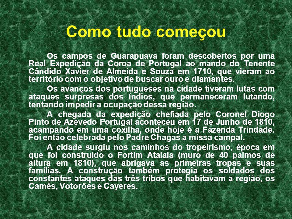 Como tudo começou Os campos de Guarapuava foram descobertos por uma Real Expedição da Coroa de Portugal ao mando do Tenente Cândido Xavier de Almeida