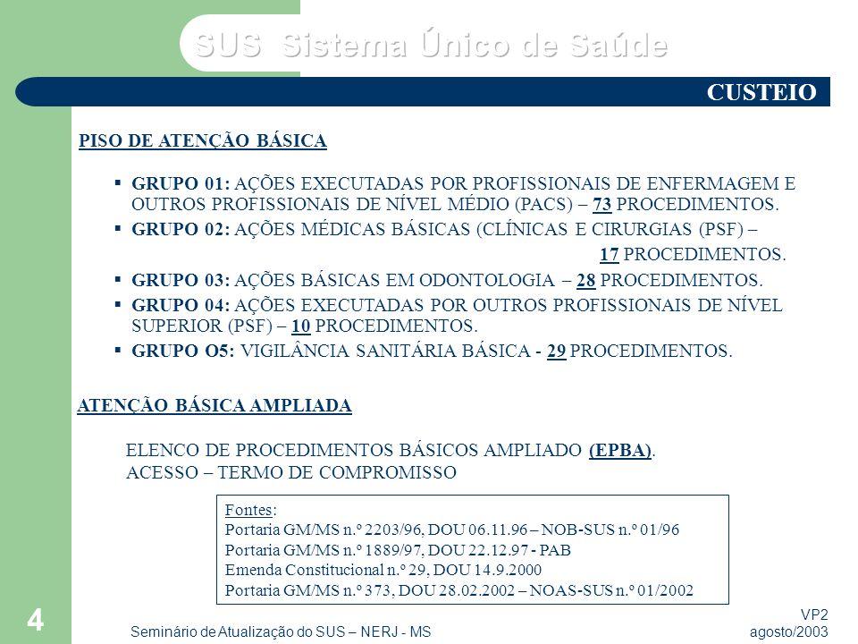 VP2 agosto/2003 Seminário de Atualização do SUS – NERJ - MS 4 PISO DE ATENÇÃO BÁSICA GRUPO 01: AÇÕES EXECUTADAS POR PROFISSIONAIS DE ENFERMAGEM E OUTR