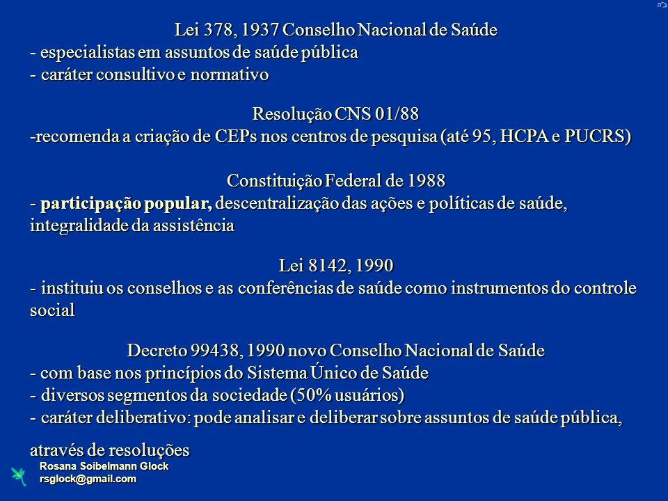 Rosana Soibelmann Glock rsglock@gmail.com Lei 378, 1937 Conselho Nacional de Saúde especialistas em assuntos de saúde pública - especialistas em assun