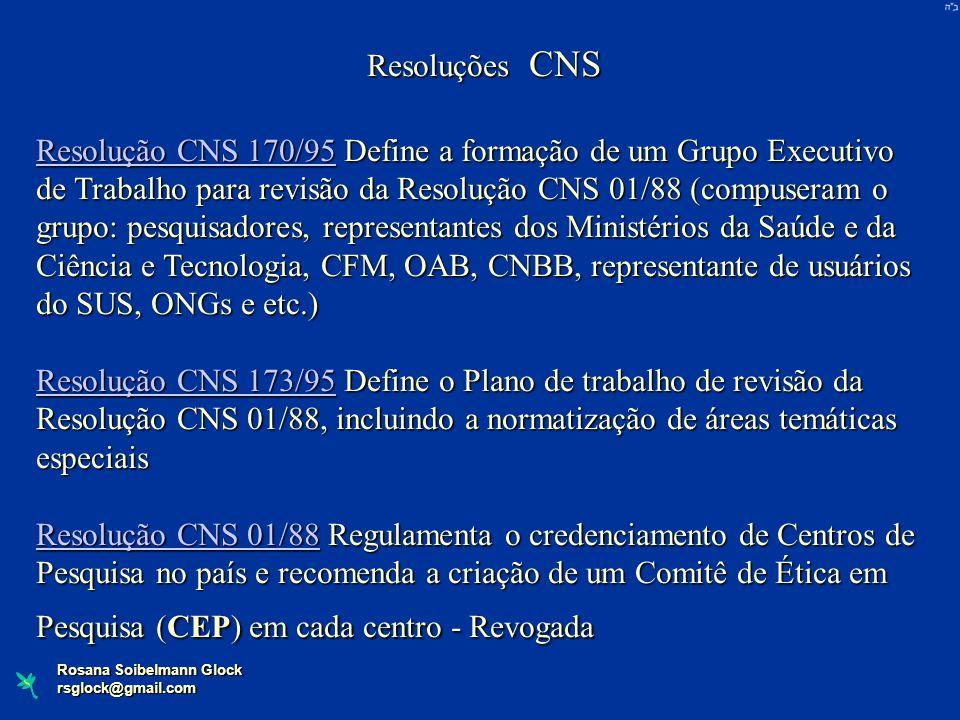 Rosana Soibelmann Glock rsglock@gmail.com Resoluções CNS Resolução CNS 170/95Resolução CNS 170/95 Define a formação de um Grupo Executivo de Trabalho