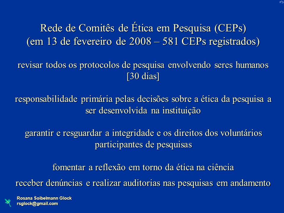 Rosana Soibelmann Glock rsglock@gmail.com Rede de Comitês de Ética em Pesquisa (CEPs) (em 13 de fevereiro de 2008 – 581 CEPs registrados) revisar todo