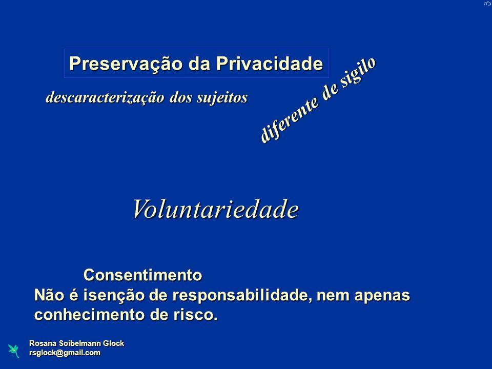 rsglock@gmail.com Preservação da Privacidade d i f e r e n t e d e s i g i l o descaracterização dos sujeitos Voluntariedade Consentimento Não é isenç
