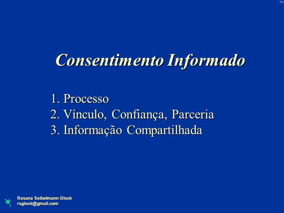 Rosana Soibelmann Glock rsglock@gmail.com 1. Processo 2. Vínculo, Confiança, Parceria 3. Informação Compartilhada Consentimento Informado