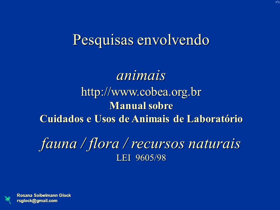 Rosana Soibelmann Glock rsglock@gmail.com Pesquisas envolvendo animaishttp://www.cobea.org.br Manual sobre Cuidados e Usos de Animais de Laboratório f