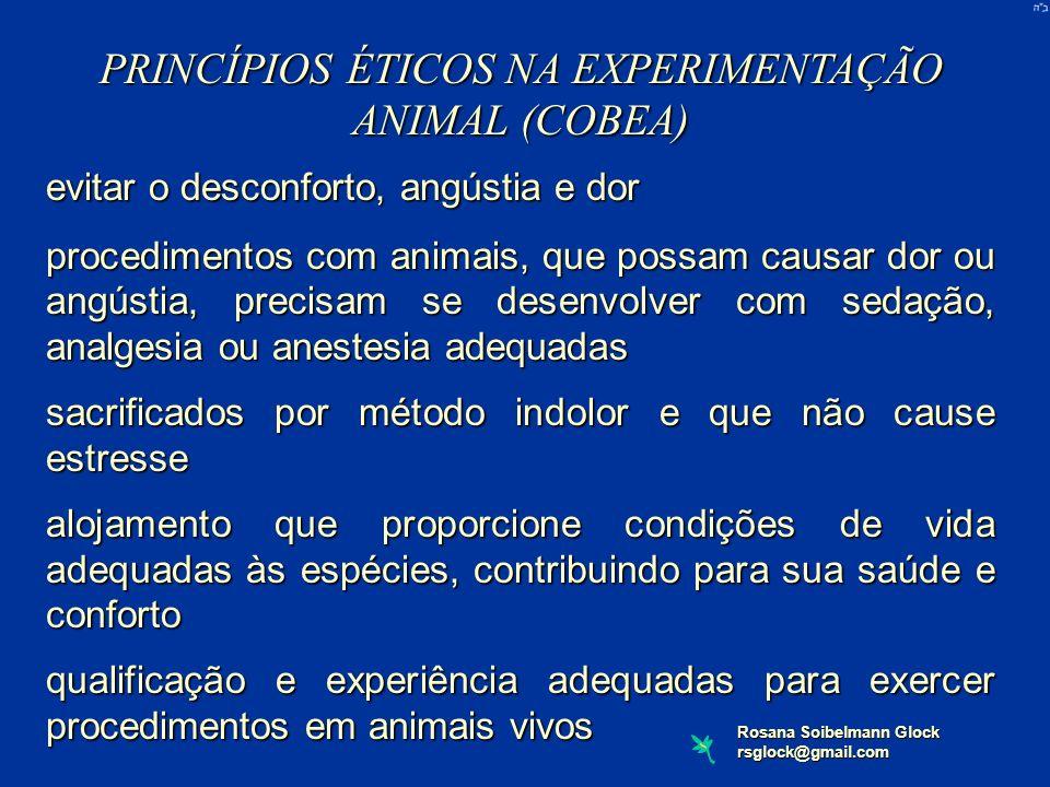 Rosana Soibelmann Glock rsglock@gmail.com PRINCÍPIOS ÉTICOS NA EXPERIMENTAÇÃO ANIMAL (COBEA) evitar o desconforto, angústia e dor procedimentos com an