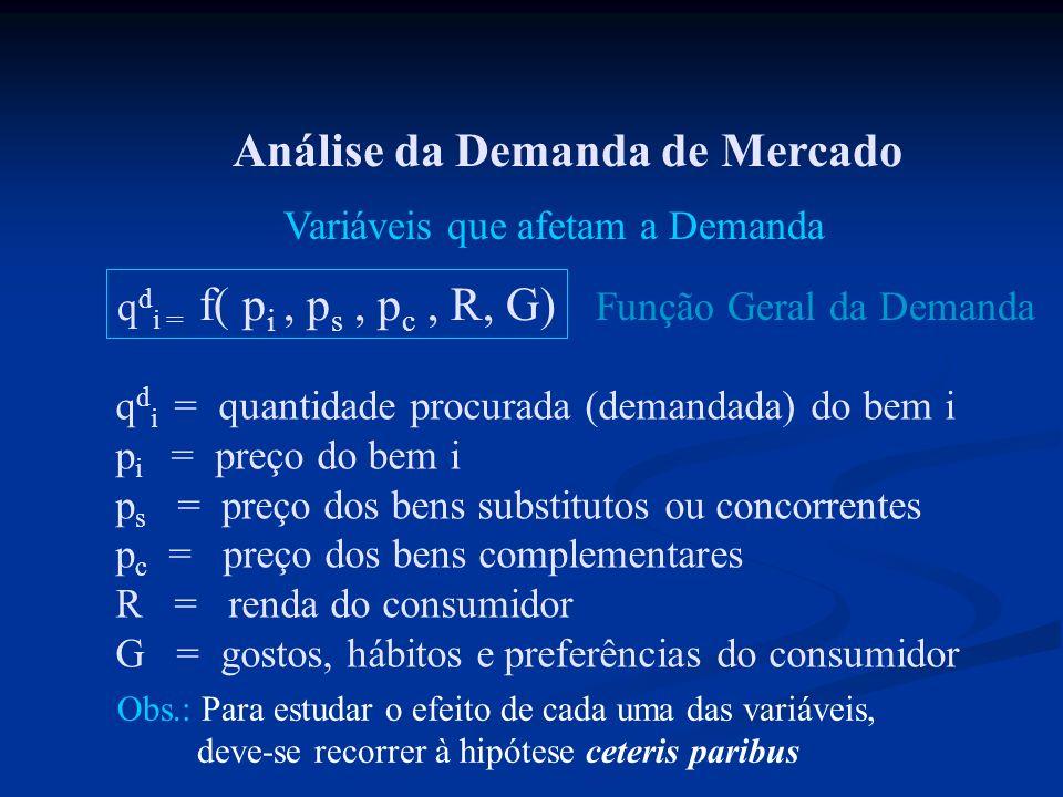Análise da Demanda de Mercado Variáveis que afetam a Demanda q d i = f( p i, p s, p c, R, G) q d i = quantidade procurada (demandada) do bem i p i = p