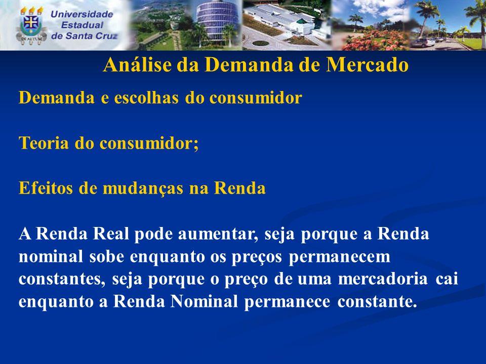 Análise da Demanda de Mercado Demanda e escolhas do consumidor Teoria do consumidor; Efeitos de mudanças na Renda A Renda Real pode aumentar, seja por