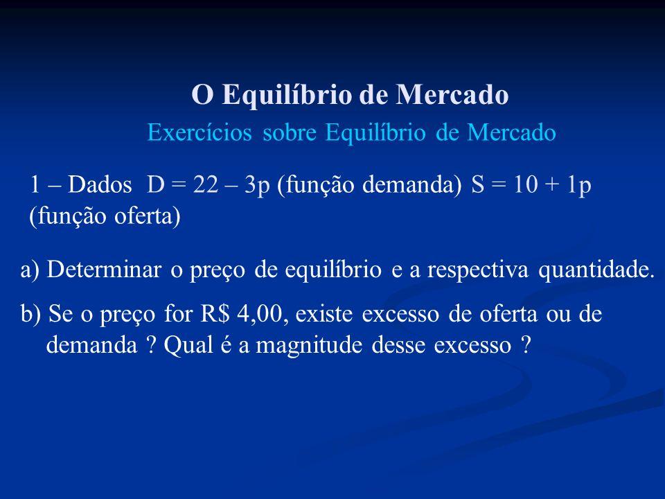 Exercícios sobre Equilíbrio de Mercado 1 – Dados D = 22 – 3p (função demanda) S = 10 + 1p (função oferta) a) Determinar o preço de equilíbrio e a resp